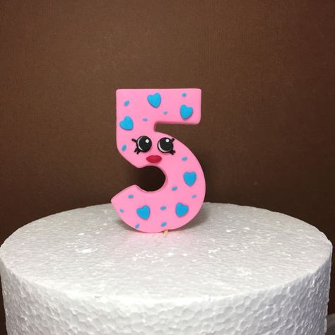 Shopkins Birthday Number Cake Topper Fondant By SugarDecorByLetty