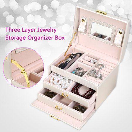 Aramox Three Layer Jewelry Storage Organizer Box Pu Earring Necklace Display Case Cabinet Necklace Travel Jewelry Case Jewelry Case Jewelry Organizer Storage