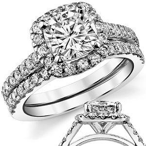 Cushion Halo Moissanite Wedding Set Wed726a Moissanite Wedding Set Halo Wedding Set Wedding Sets