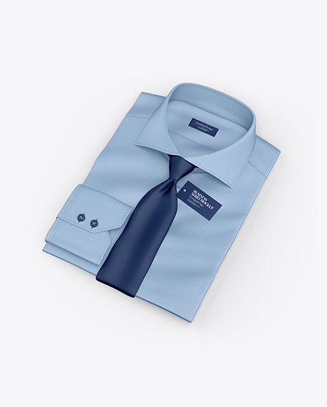 Free Mockup Free Psd Mockup Folded Shirt With Tie Mockup Half Side View High Angle Shot Object Mockups Psd Template