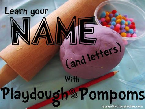 Learn your NAME (and letters) with Playdough and Pompoms #Learnwithplayathome