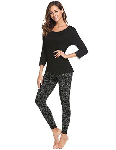 392452b635 ADOME Damen Schlafanzug lang Blumen herbst Winter Jersey Nachtwäsche warm  leicht Atmungsaktiv , farbe - Schwarz
