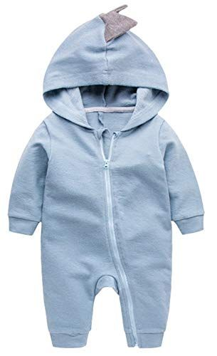 TheRang Newborn Baby Boys Girls Dinosaur Zipper Hooded Romper Jumpsuit Outfits Clothes