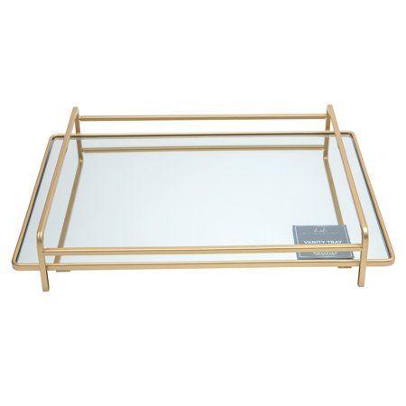 Home Details 4 Rail Vanity Mirror Tray Walmart Com Mirror Tray Mirror Vanity Tray Vanity Tray