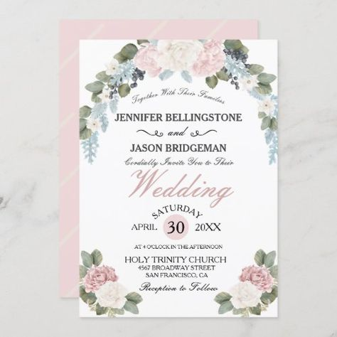 Elegant Garden Blossom Blush Pink Bridal Shower #blue #pretty #blushpink #romantic #greenery #soft #springwedding #summerwedding #classic #elegant