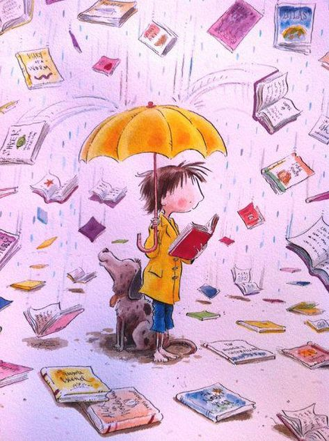 It's raining ...books! - Peter Reynolds illustration