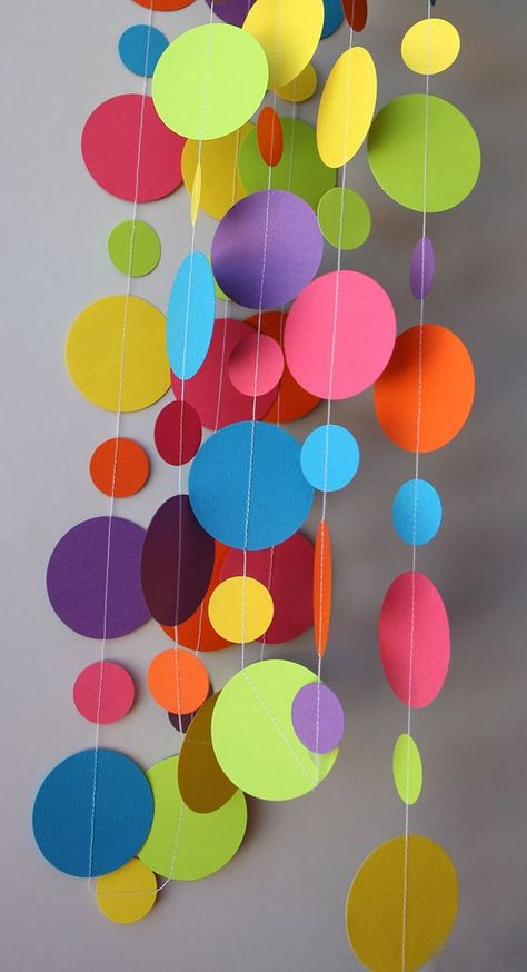 Rainbow paper garland, Birthday decorations, Birthday party decor, Circle paper garland, Nursery decor, First birthday decor, Baby shower IN THE PICS: 1 x 13 ft long strand with 1 + 2 circles making waves or loops. Looks great on or around your table, hanging in the wall, the door, the window, the