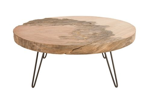 Furniture Leather Ottoman Coffee Table Round Wood