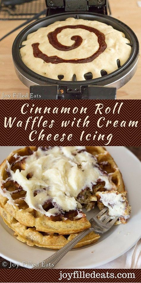This recipe made 8 Belgian waffles in our machine. Cinnamon Roll Waffles with Cream Cheese Icing - My Cinnamon Roll Waffles will satisfy all your cravings. They are rich & filling w/ sweet cinnamon & creamy icing. Low Carb, THM S, Gluten/Grain Free. Waffle Maker Recipes, Thm Recipes, Brunch Recipes, Recipies, Dinner Recipes, Best Waffle Recipe, Meatless Recipes, Freezer Recipes, Freezer Cooking