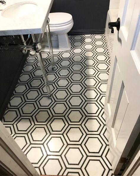Hexagon Marble Mosaic | Black and White | Carrara + Nero | The Chatham Collective