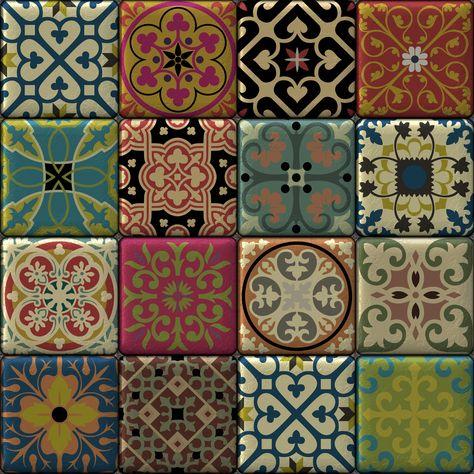 Moroccan Tiles Multi Colour - Standard Vinyl / 3 metre x 60cm / Portrait