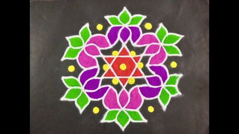 Rangoli Design With Colours for Festivals and Competitions And Dots 11x6