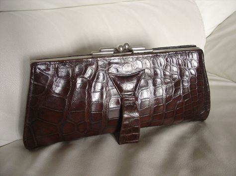 Vintage 30's 40's Art Deco British Made Real Crocodile Clutch Bag Chrome Clasp