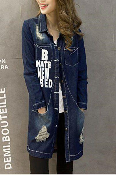 SHUNLIU Damen Jeans Jacke Lose Denim Mantel Outwear Frühling