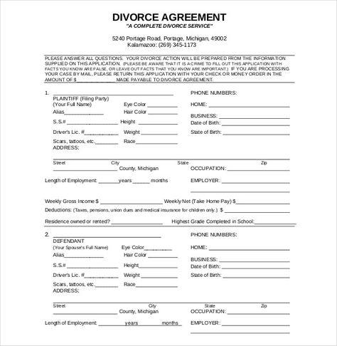 Divorce agreement,divorce agreement template Separation - divorce agreement