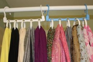 Scarves Organizer Using Shower Curtain Rings And Magic Hangers At The Dollar Store