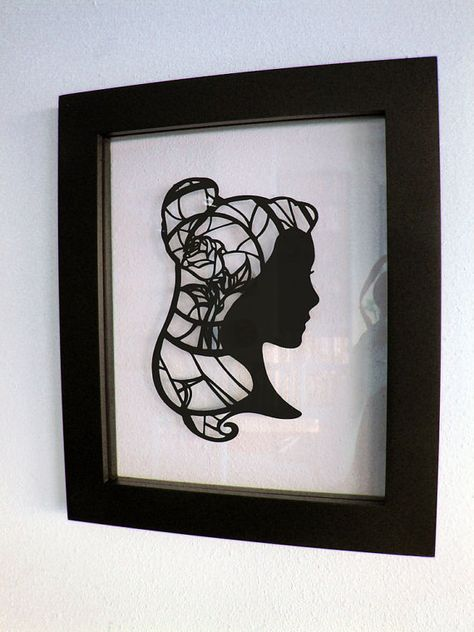 Beauty and the Beast: Princess Belle and the Enchanted Rose Hand-Cut Paper Silhouette Art by TheShadowStudio, $65.00
