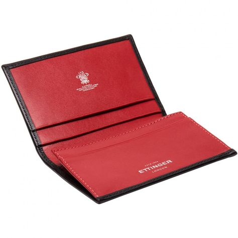 Ettinger Sterling Visiting Card Case Black and Red Leather Our name is Ettinger Small Wallet with 3 card slots plus extended card holder for billfolds. - Black