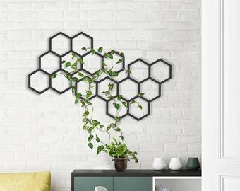 Honeycomb Wall Hanging Metal Wall Planter Metal Wall Art Honeycomb Wall Art Honeycomb Wall Decor Metal Indoor Planter Modular Planter In 2021 Geometric Wall Geometric Wall Decor Wall Decor