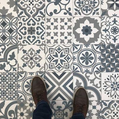 Portuguese Azulejos Tile Effect Cushioned Sheet Vinyl Flooring Blue Grey Lino Ebay In 2020 Tile Effect Vinyl Flooring Vinyl Flooring Vinyl Flooring Bathroom