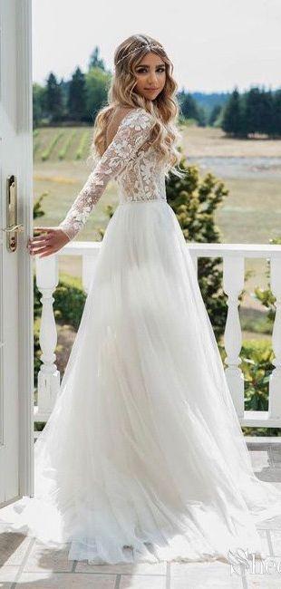 Brautkleid schlicht lange ärmel