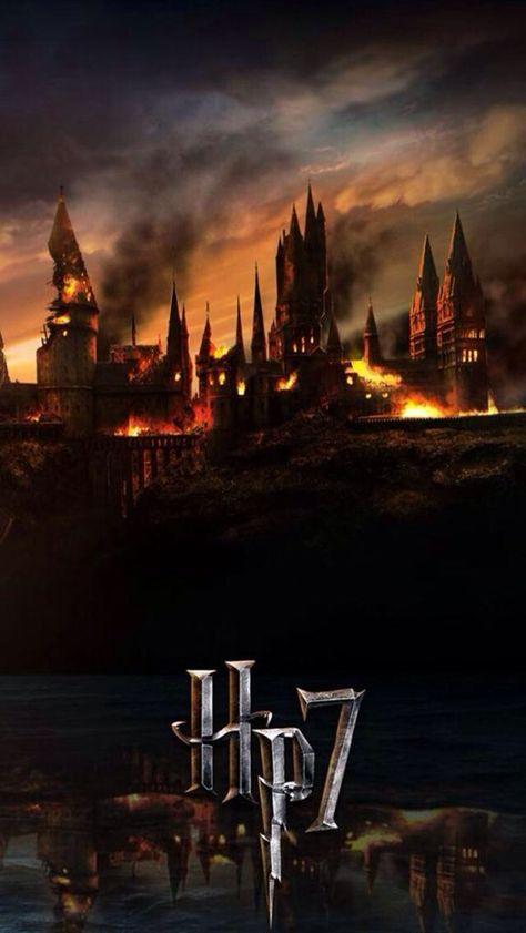 Burning Hogwarts Deathly Hallows 2 iphone case