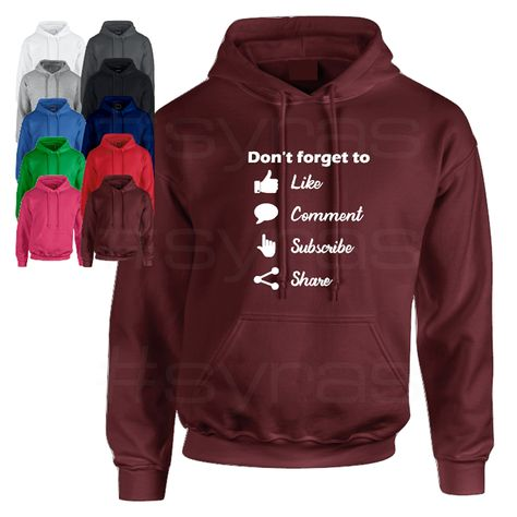 Social Media Pullover Hoodie Wear this hoodie with pride! Show off in your You tube, Tiktok and Instagram Videos! Browse a range of colours and order online.