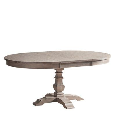 Bradding Shadow Gray Round Extension Dining Table Oval Dining