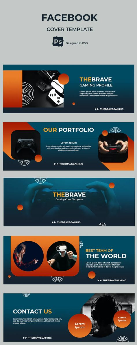 Gaming Facebook Cover Design PSD