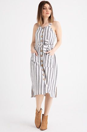 9681 Askili Onu Dugmeli Cizgili Keten Elbise Elbise Modelleri Elbise Sifon Elbise