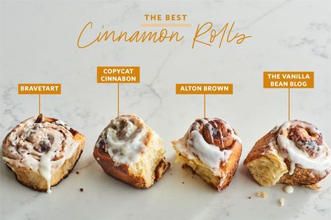 We Tried 4 Famous Cinnamon Roll Recipes and Found a Clear Winner There's only one worth your effort. Alton Brown Cinnamon Rolls, Quick Cinnamon Rolls, Overnight Cinnamon Rolls, Cinnabon Cinnamon Rolls, Churros, Copycat Cinnabon Recipe, Best Cinnamon Roll Recipe, Cinnamon Roll Icing, Cinnamon Recipes