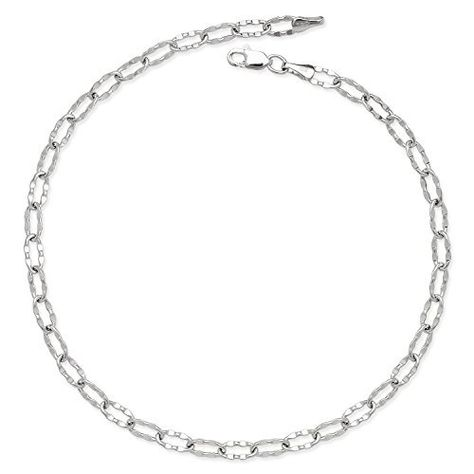 14k White Gold 10 Inch 2.6mm Figaro Chain Anklet lobster-claw JewelryWeb