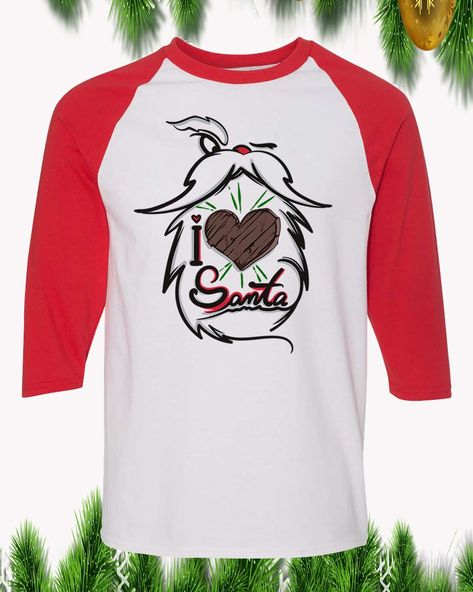 I Love Santa Christmas Raglan T-Shirt 3/4 Sleeve Adult Unisex