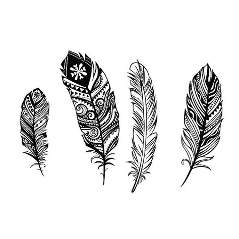 four feathers set temporary tattoo on Etsy, $7.50