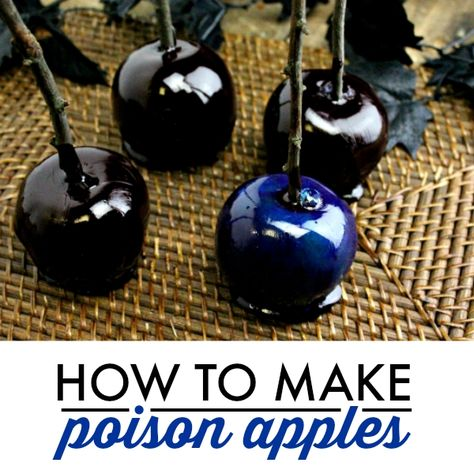 """How to Make Poison Apples This shop has been compensated by Collective Bias, Inc. and its advertiser. All opinions are mine alone. It""""s so hard not to have an evil villains party without the most evil recipe of all: the poison apple. Halloween Desserts, Recetas Halloween, Soirée Halloween, Halloween Food For Party, Holidays Halloween, Halloween Treats, Halloween Potluck Ideas, Halloween Candy Apples, Witch Party"""