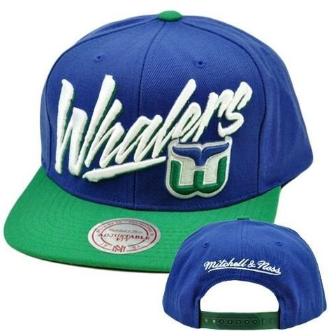 cf0253bc227 NHL LNH Mitchell Ness Throwback Vice Script Snapback Hat NE93 Hartford  Whalers by Mitchell   Ness.  25.95. Snap Back. Brand New Item with Tags.  Adjustable.