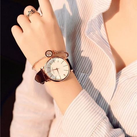 Polygonal dial design women watches luxury fashion dress quartz watch ulzzang popular brand white ladies leather wristwatch - Brown
