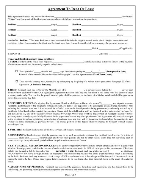House Lease Agreement Form Free Property Rentals Direct