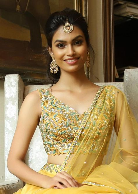 9a9bad46d7 Mustard cut out crop top with satin skirt having under layer in net only on  Kalki