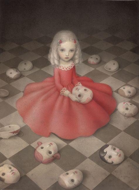 "Oh these lovely dark undertones. Nicoletta Ceccoli's ""A Girl Hides Secrets"" is available in a Limited Edition of 75 fine art prints at AFA Art Bizarre, Creepy Art, Weird Art, Arte Horror, Horror Art, Art Sinistre, Arte Lowbrow, Mark Ryden, Arte Obscura"