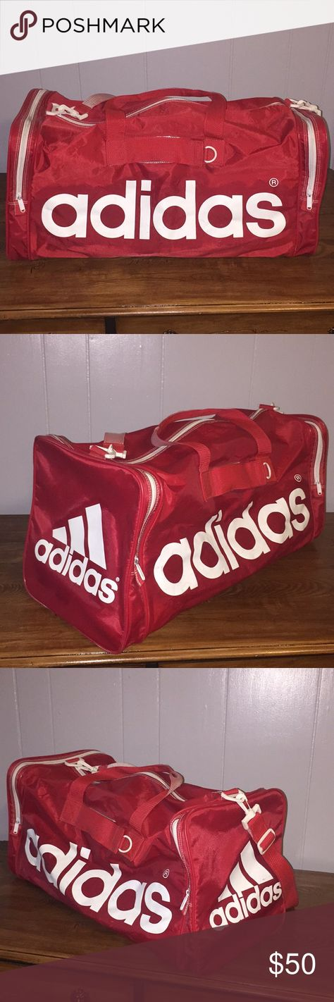 1b96ffd3c6c8 Vintage Adidas Duffle Bag Vintage duffle bag with minimal scuffs and nearly  no scratches. It has a hard support cover for the inside and molded legs on  ...