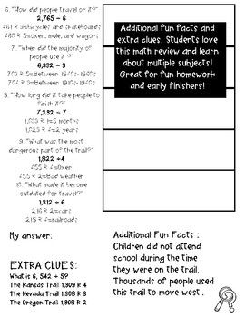 The Oregon Trail Fun Activities 5th Grade Division 5 Nbt 6 With