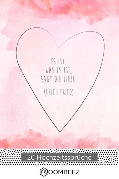 #hochzeit #spruch #karte Es ist, was es ist, sagt die Liebe ❤ Kostenlose Grußkarten für die nächste Hochzeit findet ihr hier auf ROOMBEEZ!