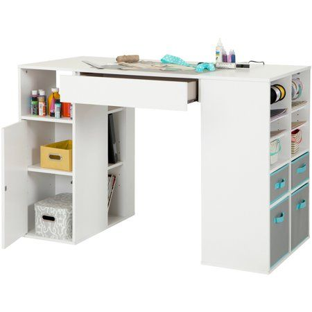South Shore Crea White Counter Height Craft Table With Storage Walmart Com Craft Tables With Storage Craft Table Diy Craft Table