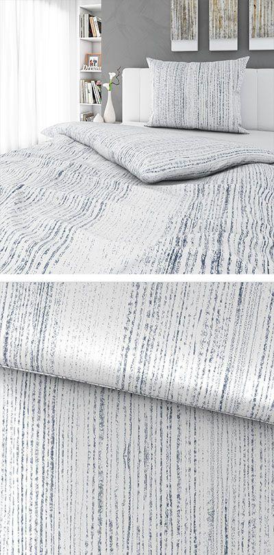 Bettwasche Silberfarben Mit Streifen 140x200 Bettwasche Bett Wasche