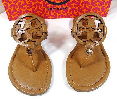 ac409e28eaeb84 Tory Burch Miller Tan Tumbled Leather Thong Sandal 5 to 11