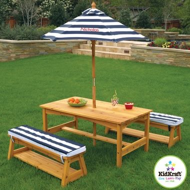 Kidkraft Outdoor Table Chair Set With Navy Stripe Cushions Free