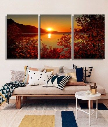 Lake Sunset Landscape Wall Art Decoration Prints Home Decor Modern Wall Picture For Living Room 3pcs 11 99 Home Decor Living Room Pictures Landscape Wall Art