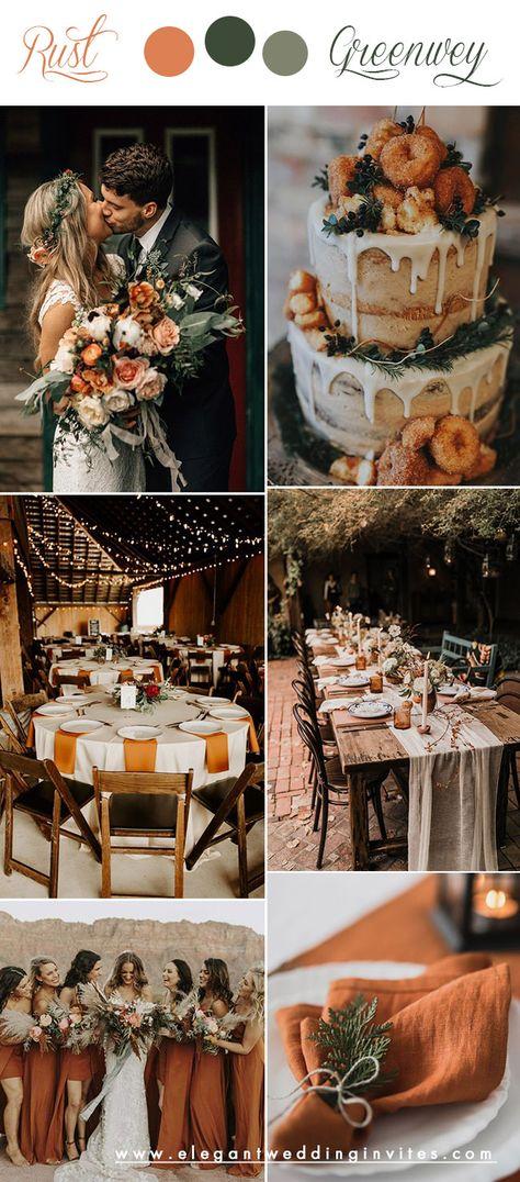 October Wedding Colors, Fall Wedding Colors, Wedding Color Schemes, Autumn Wedding Ideas October, Wedding Themes For Fall, Wedding In October, Fall Wedding Inspiration, Rust Color Schemes, October Wedding Dresses