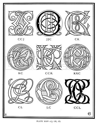 Ccj Jjc Ck Kc Cck Kkc Cl Lc Ccl Illustration For Monograms And Ciphers Designed And Drawn By Monogram Tattoo Initials Logo Design Victorian Lettering
